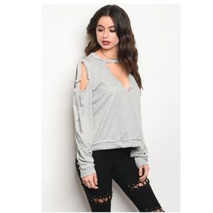 Gray Cold Shoulder Cropped Sweater